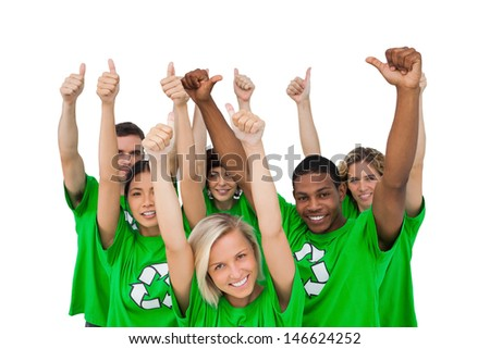 Cheerful group of environmental giving thumbs up on white background - stock photo