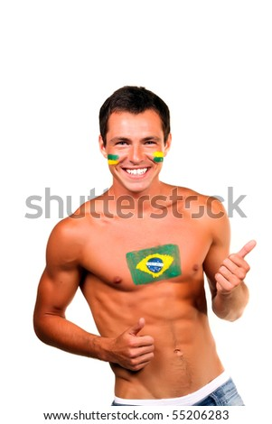 Cheerful happy brazilian football fan with flag on his body and face, isolated on white - stock photo