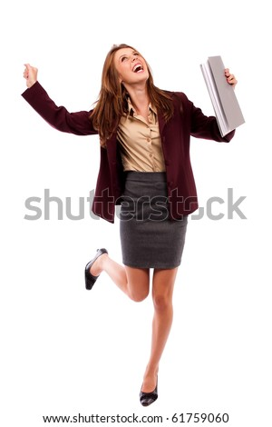 Cheerful happy young businesswoman isolated on white background - stock photo