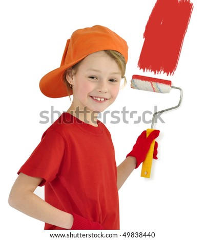 Cheerful house painter - stock photo