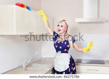 Cheerful housewife is cleaning the kitchen - stock photo