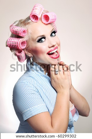 Cheerful housewife, similar available in my portfolio - stock photo