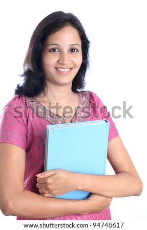 Cheerful Indian business woman talking on phone