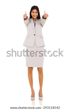 cheerful indian businesswoman giving thumbs up on white background - stock photo