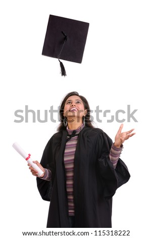Cheerful Indian female graduate on white. - stock photo