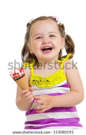 cheerful kid girl eating ice-cream isolated - stock photo