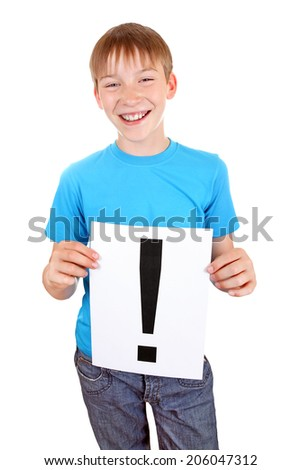 Cheerful Kid holds a sheet with Exclamation Mark Isolated on the White Background - stock photo