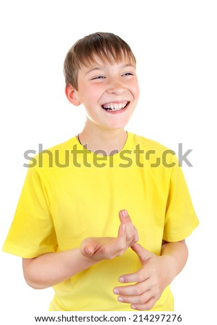 Cheerful Kid Isolated on the White Background - stock photo