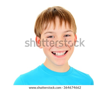 Cheerful Kid Portrait Isolated on the White Background - stock photo