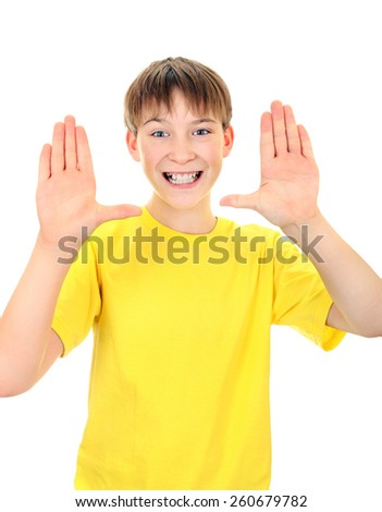 Cheerful Kid show the Palms on the White Background - stock photo
