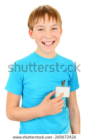 Cheerful Kid with a Badge on t-shirt Isolated on the White Background - stock photo
