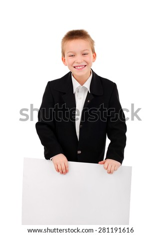 Cheerful Kid with Blank Broad Isolated on the White Background - stock photo