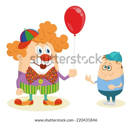 Cheerful kind circus clown in colorful clothes gives a little boy a balloon, holiday illustration, funny cartoon character isolated on white background. - stock photo