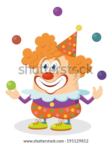 Cheerful kind circus clown in colorful clothes juggling balls, holiday illustration, funny cartoon character, isolated on white background. - stock photo