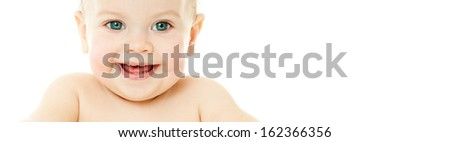 cheerful laughing baby - stock photo