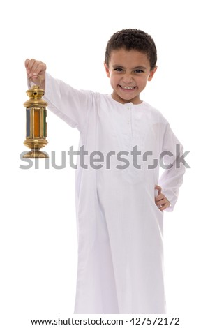 Cheerful Little Boy Celebrating Ramadan with Lantern Isolated on White Background - stock photo
