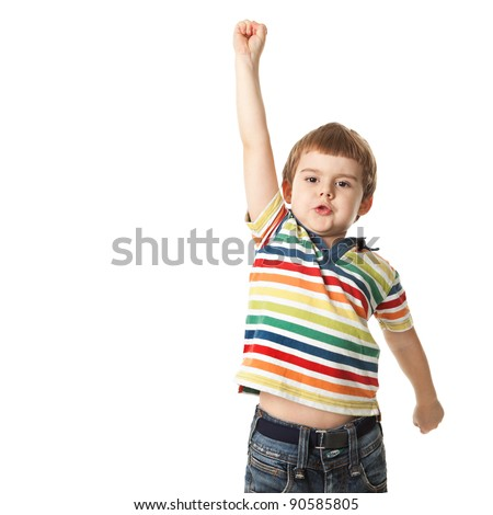 cheerful little boy raised his hand up. Isolated on white background.  shooting in the studio