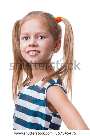 Cheerful little girl, isolated on white background - stock photo