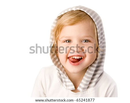 Cheerful little girl on white background - stock photo