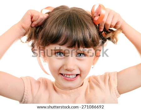 Cheerful Little Girl Portrait on the White Background
