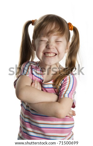 Cheerful little girl smile. White isolated. - stock photo