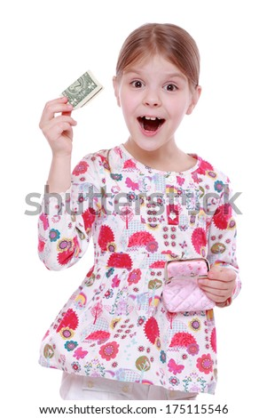 cheerful little girl with paper money - dollars, isolated over white/little girl holding one dollar - stock photo