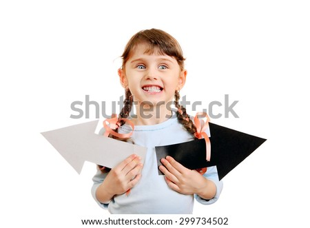 Cheerful Little Girl with Two Arrows Isolated on the White Background - stock photo