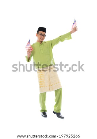 cheerful malay male with malaysian flag full body isolated on white