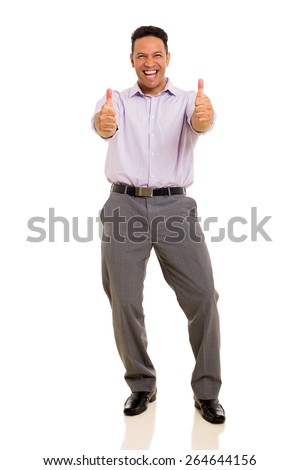 cheerful man giving thumbs up on white background - stock photo