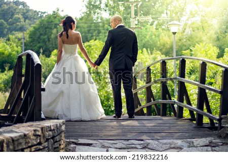 Cheerful married couple - stock photo