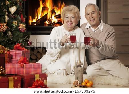 Cheerful mature couple having fun at Christmas time  - stock photo
