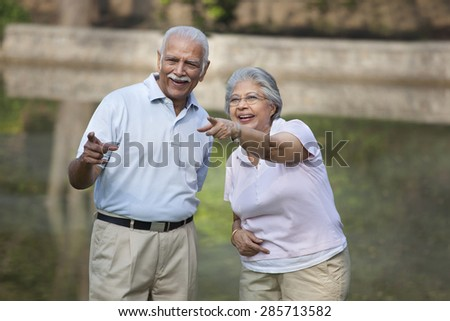 Cheerful mature woman and man pointing at something in park - stock photo