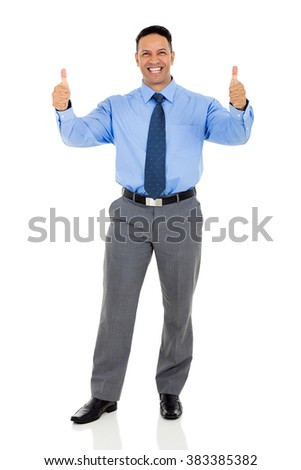 cheerful mid age corporate worker with thumbs up - stock photo