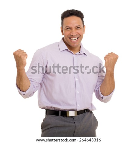 cheerful middle aged man holding fists on white background - stock photo