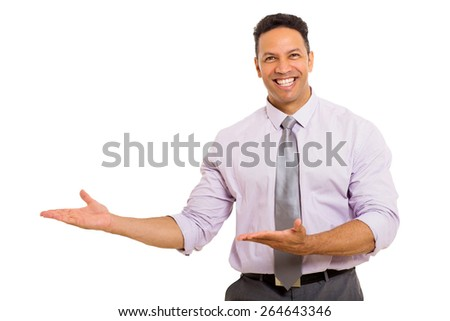cheerful middle aged man presenting empty space isolated on white - stock photo