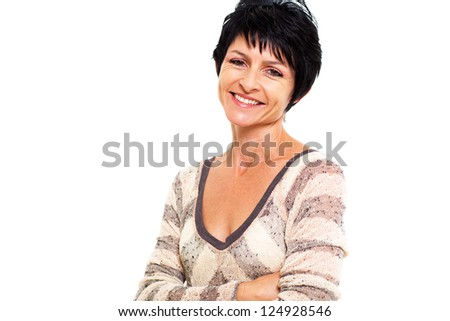 cheerful middle aged woman portrait isolated on white - stock photo