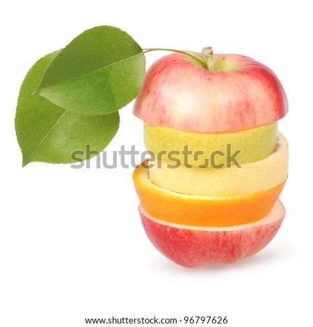 Cheerful mixed fruits with leaves including orange, pear, apple and lemon isolated on white. Clipping path included.