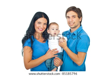 Cheerful mother and father holding their baby boy isolated on white background - stock photo