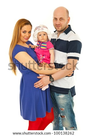 Cheerful mother and father holding their baby girl isolated on white background - stock photo