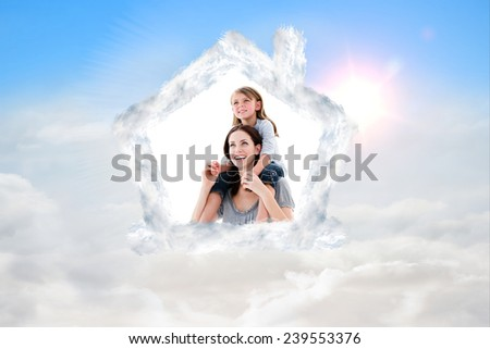Cheerful mother giving piggyback ride to her daughter against blue sky with white clouds - stock photo
