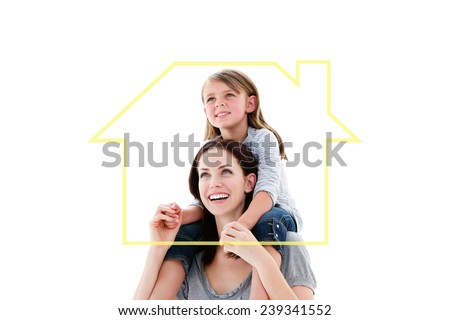 Cheerful mother giving piggyback ride to her daughter against house outline - stock photo