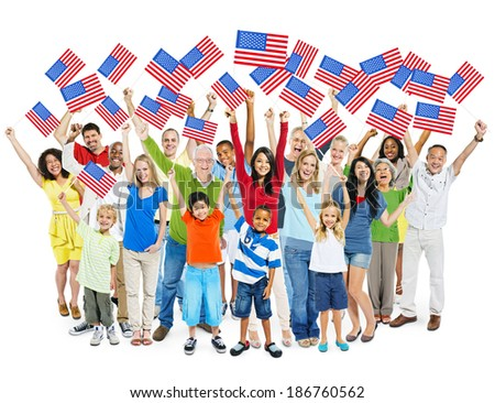 Cheerful Multi-Ethnic Group Of People Standing With Their Arms Raised Holding American Flag. - stock photo