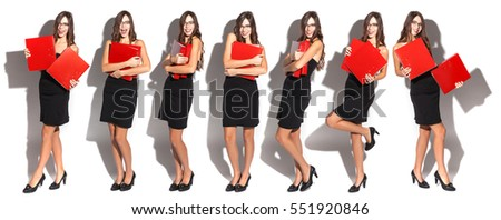 cheerful office worker in black dress and red folders in hand, several photos on a single, panoramic photo