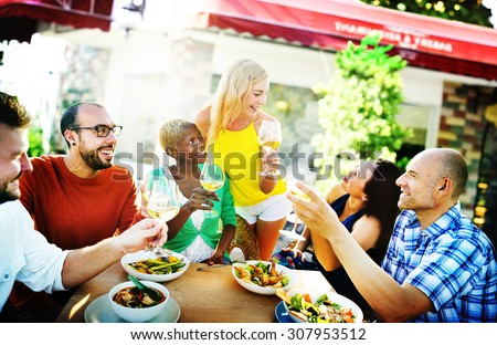 Cheerful Party Friends Friendship Cafe Hanging Out Concept - stock photo