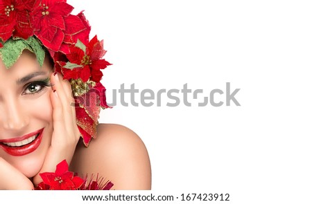 Cheerful party girl with festive makeup and manicure. Floral hairstyle isolated on white background. Close up of half face. - stock photo