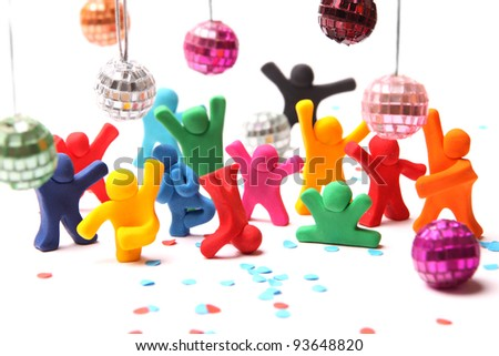 cheerful plasticine people having a party - stock photo