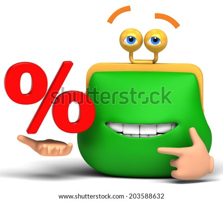 cheerful purse with percent on a white background - stock photo