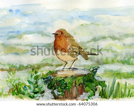 Cheerful Robin Standing on an Ivy Covered Log, with a Winter Snowy Landscape. - stock photo