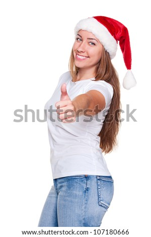 cheerful santa woman in white t-shirt showing thumbs up. posing over white background