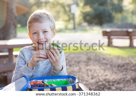 cheerful schoolboy eating healthy lunch outdoor